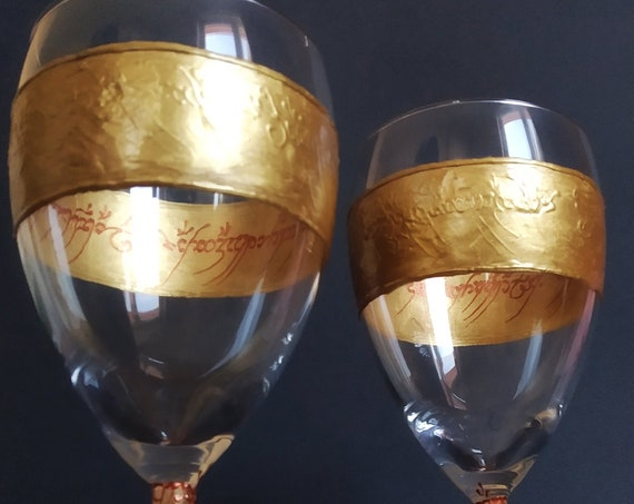 LoTR Lord of the rings Set of 2 hand painted wine glasses