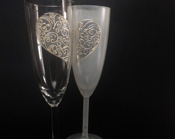 Set of 2 hand painted Valentine heart champagne flutes Love