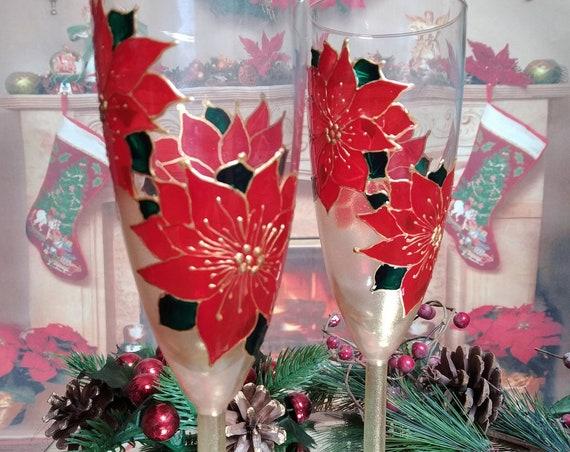 Christmas set of 2 wedding champagne flutes Red Poinsettia flower Winter glasses