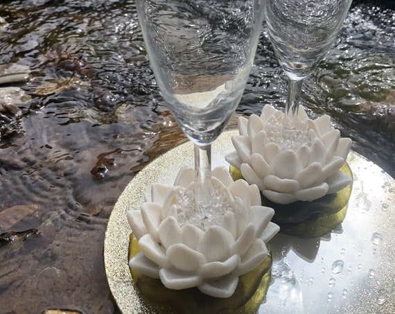 White Water lily wedding flutes