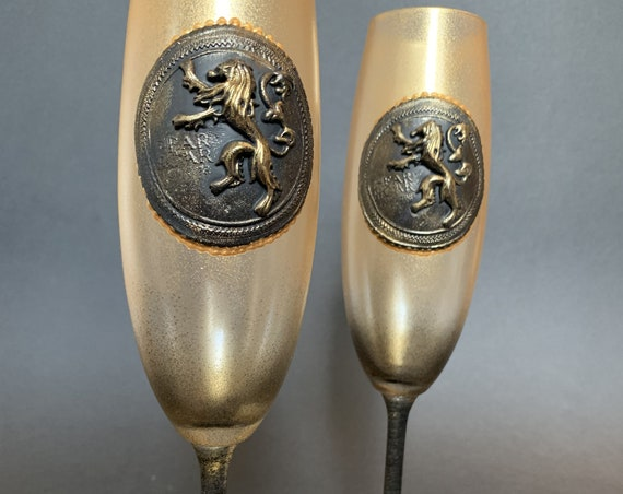 Game of thrones Handmade hand painted wedding flutes House Lannister