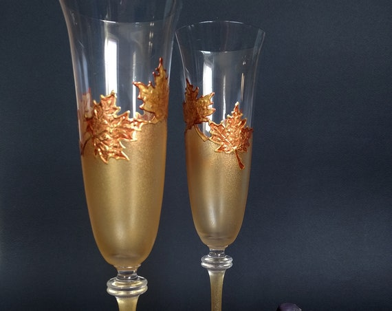Autumn set of 2 hand painted wedding champagne flutes Maple leaves Cake serving set