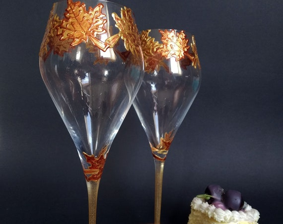 Set of 2 hand painted autumn wedding champagne flutes Maple leaves Cake serving set