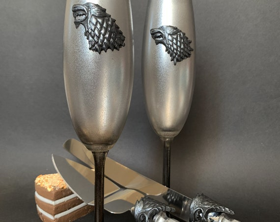 Game of thrones Handmade hand painted wedding set House Stark