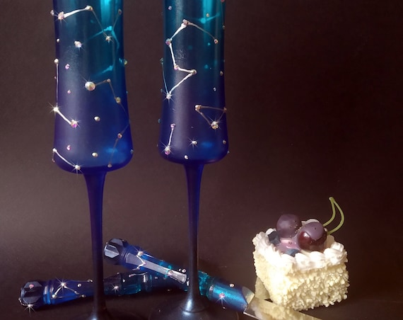 Constellations Wedding Set of 2 hand painted wedding champagne flutes cake serving set Night sky crystals