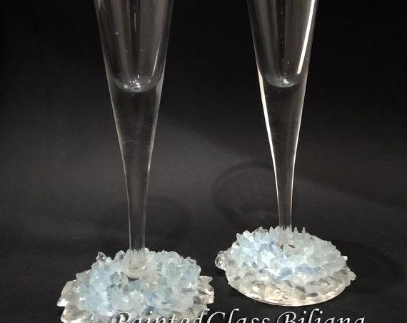 Crystals geode wedding flutes