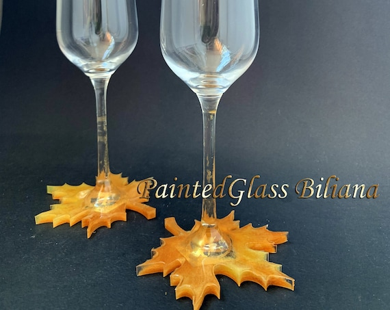 Maple leaf champagne flutes