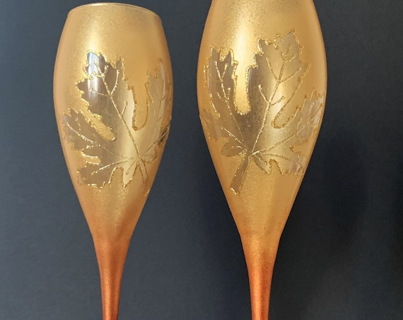 Autumn set of 2 hand painted wedding champagne flutes Maple leaf toasting glasses