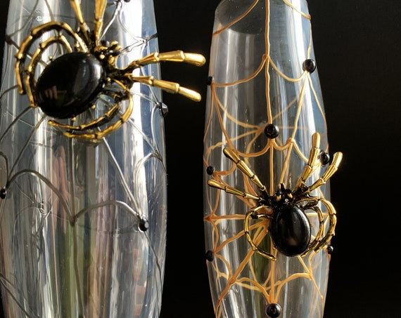 Gold black spider wedding champagne flutes, Halloween wedding theme