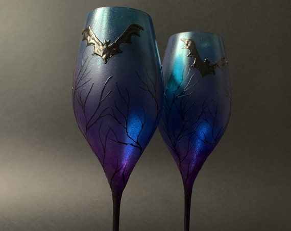 Set of 2 hand painted decorated Wedding Glasses champagne flutes Black, turquoise and purple Bats Halloween wedding favor