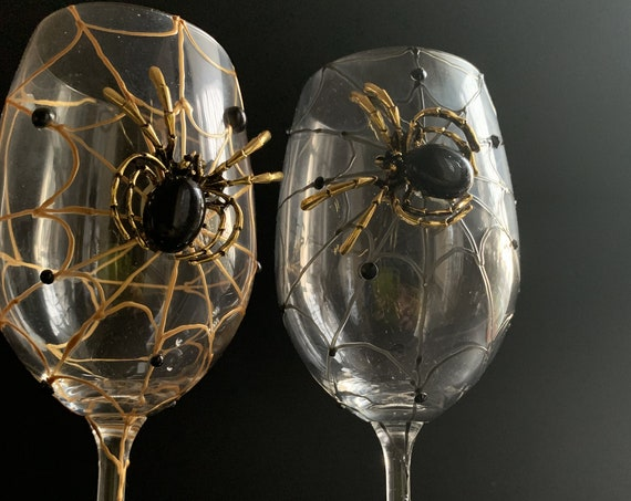Gold black spider wine glasses