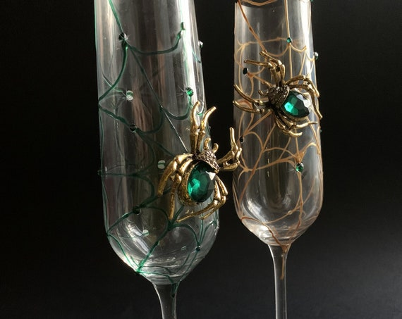 Gold green spider wedding champagne flutes, Halloween wedding theme