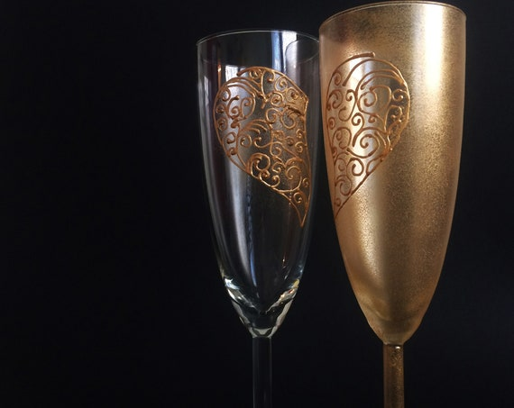 Set of 2 hand painted gold Valentine heart champagne flutes Love