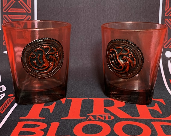 Game of thrones Set handmade hand painted whiskey glasses House Targaryen