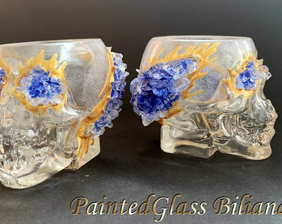 Skull Geode set of 2 hand painted decorated whiskey glasses Halloween theme