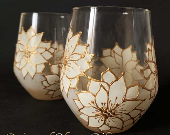 Set of 2 winter hand painted stemless wine Christmas Poinsettia glasses White Gold