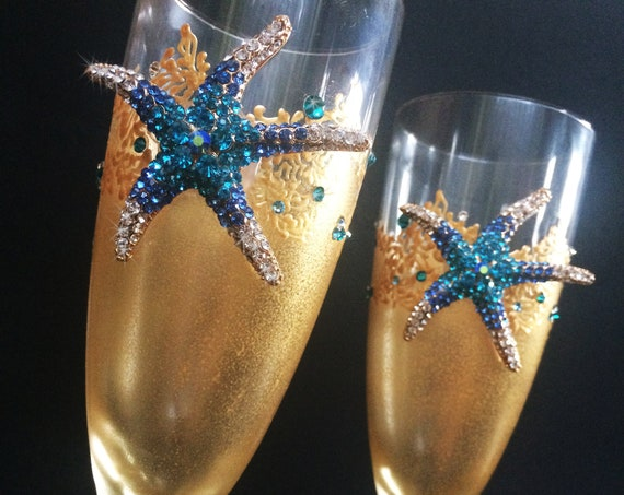 Starfish wedding champagne flutes, beach sea wedding theme, gold blue color