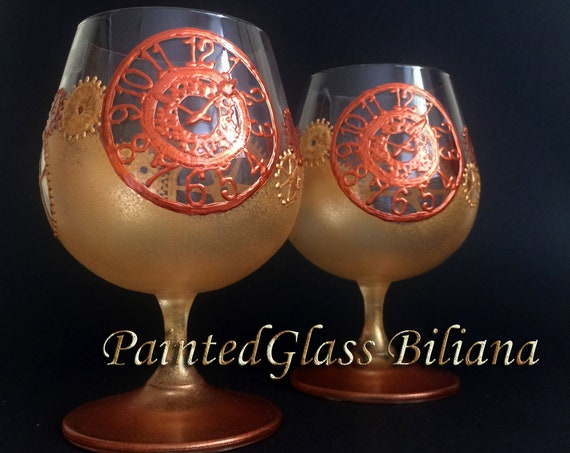 Steampunk gears brandy glasses in gold and copper color, set of 2