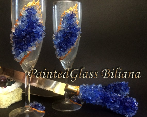 20% off Blue geode wedding flutes & Cake set