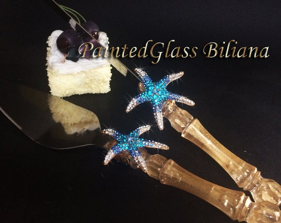 Starfish cake serving set, beach sea wedding theme, gold blue color