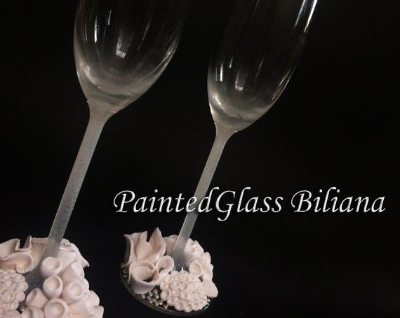 Ocean reef wedding champagne flutes, beach sea wedding theme, white color