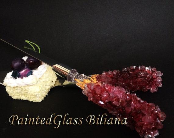 Burgundy red geode wedding cake serving set