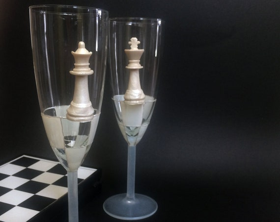 Chess King Queen wedding champagne flutes, 2 pcs