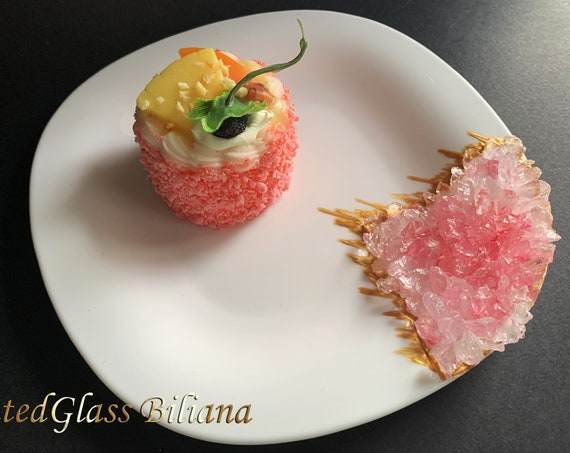 Pink geode cake plate