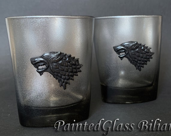 Game of thrones Set handmade hand painted whiskey glasses House Stark