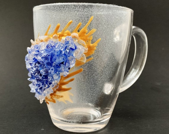 Free shipping blue geode coffee mug geode coffee glass