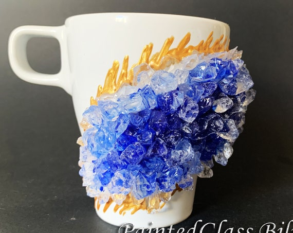 Free shipping ceramic blue geode coffee mug geode coffee glass