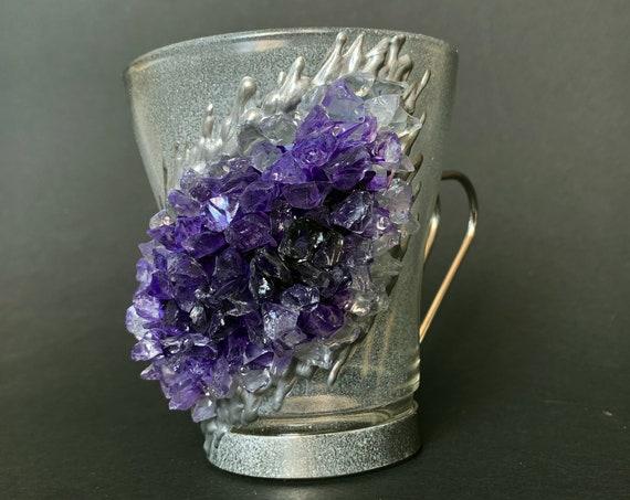 Free shipping amethyst geode coffee mug geode coffee glass