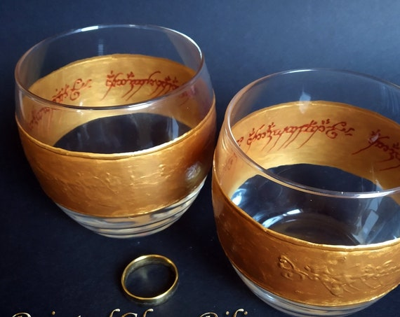 Lord of the rings LoTR Set of 2 hand painted whiskey glasses