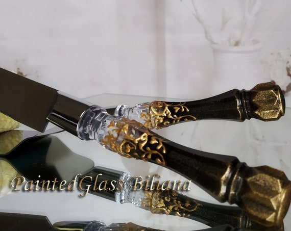 Black gold Gatsby style cake server and knife