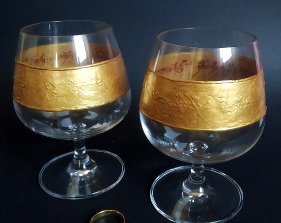 Lord of the rings LoTR One ring Set of 2 hand painted brandy glasses