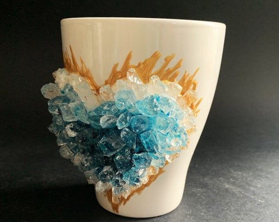 Free shipping ceramic turquoise heart geode coffee mug