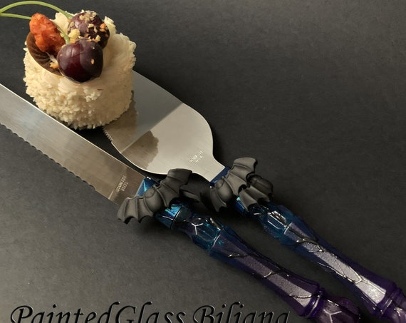Hand painted decorated Cake serving set server knife Black, turquoise and purple Bats Halloween wedding favor