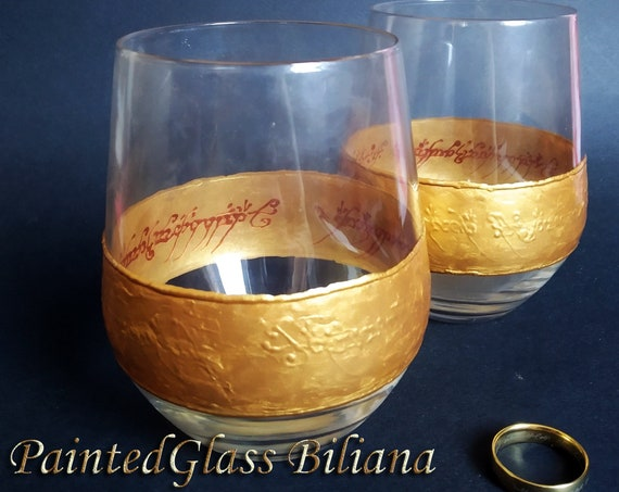 Lord of the rings LoTR Set of 2 hand painted stemless wine glasses