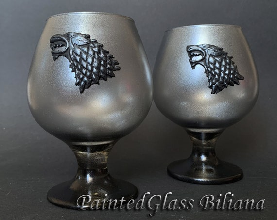 Game of thrones Set handmade hand painted whiskey brandy glasses House Stark