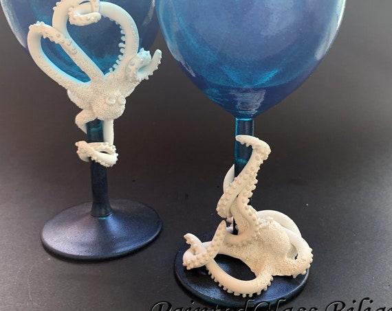Octopus wine glasses, 2 pcs