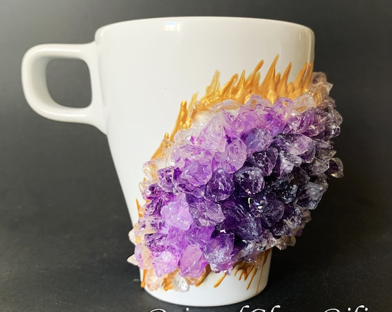 Free shipping ceramic amethyst purple geode coffee mug geode coffee glass