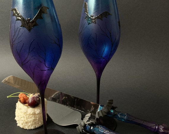 Hand painted decorated Cake serving set server knife and wedding champagne flutes Black, turquoise and purple Bats Halloween wedding favor