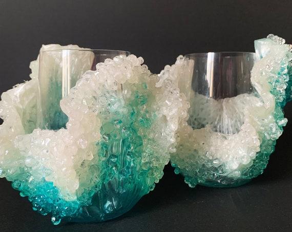 Ocean waves stemless wine glasses