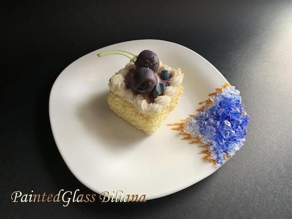 Blue geode cake plate
