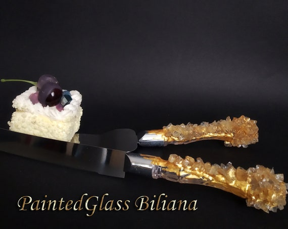 Gold geode wedding set cake serving set