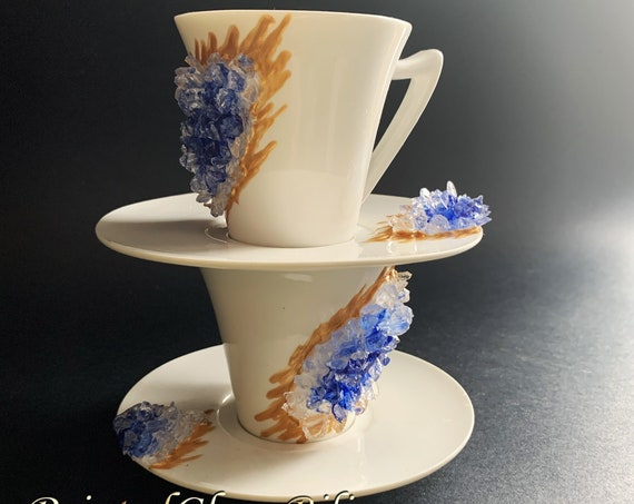 Free shipping blue geode coffee mug and plate 2pcs