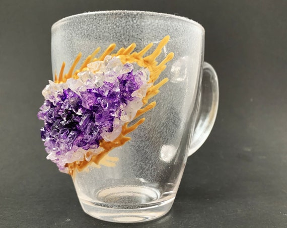 Free shipping amethyst purple geode coffee mug geode coffee glass