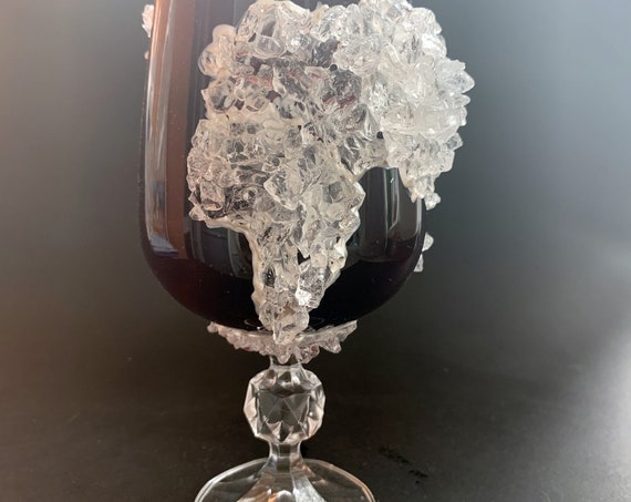 World map geode wine glass