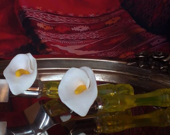 Wedding cake server and knife, white wedding cake accessories, Calla lily wedding,  wedding supplies, cake server set, server & knife 2 pcs