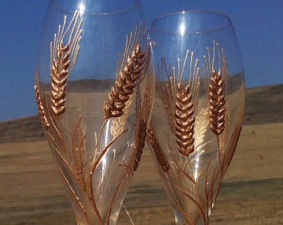 Set of 2 hand painted champagne flutes Autumn wedding theme Wheat Rye flutes wedding barn theme in gold color